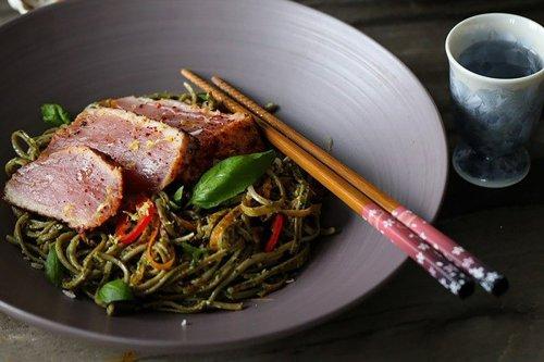 Recipe: Pesto Spaghetti with Seared Tuna