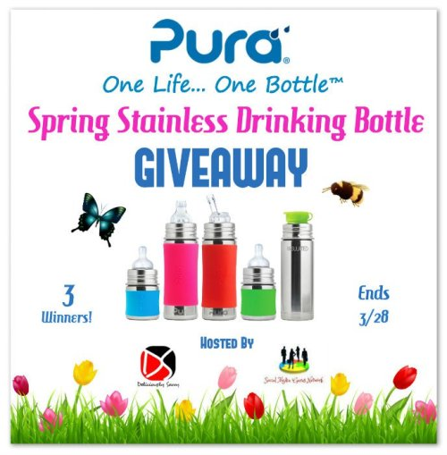 Pura Spring Stainless Steel Drinking Bottle Giveaway (3 Winners!) Ends March 28th @purastainless @SMGurusNetwork