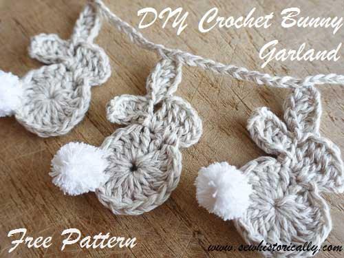 Week 166 DIY Crochet Bunny Garland from Sew Historically