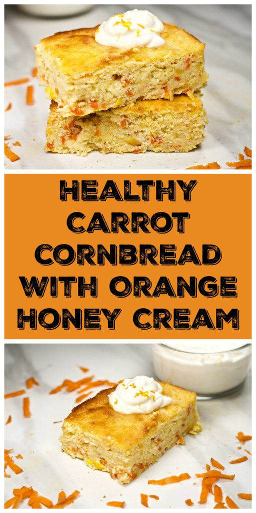 Week 169 Healthy Carrot Cornbread with Orange Honey Cream from Looney for Food #cornbread #carrot #healthy
