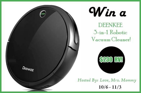 Deenkee 3-In-1 Robotic Vacuum Giveaway