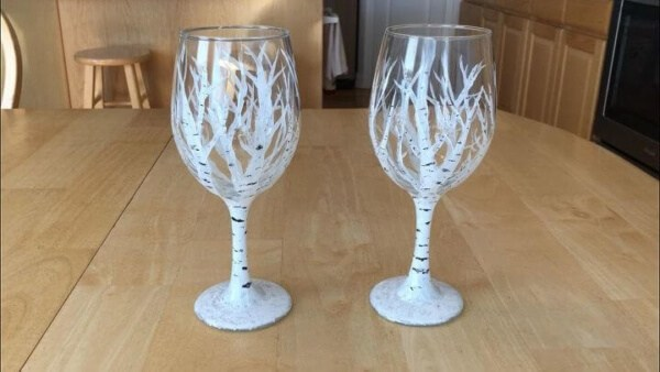 Week 210 - Winter Aspen and White Birch Wine Glasses from Chas Crazy Creations