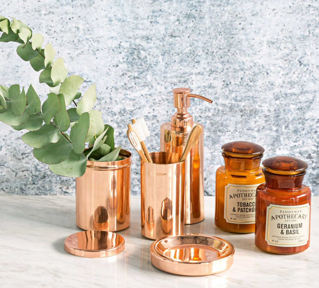 copper accent items for interior design