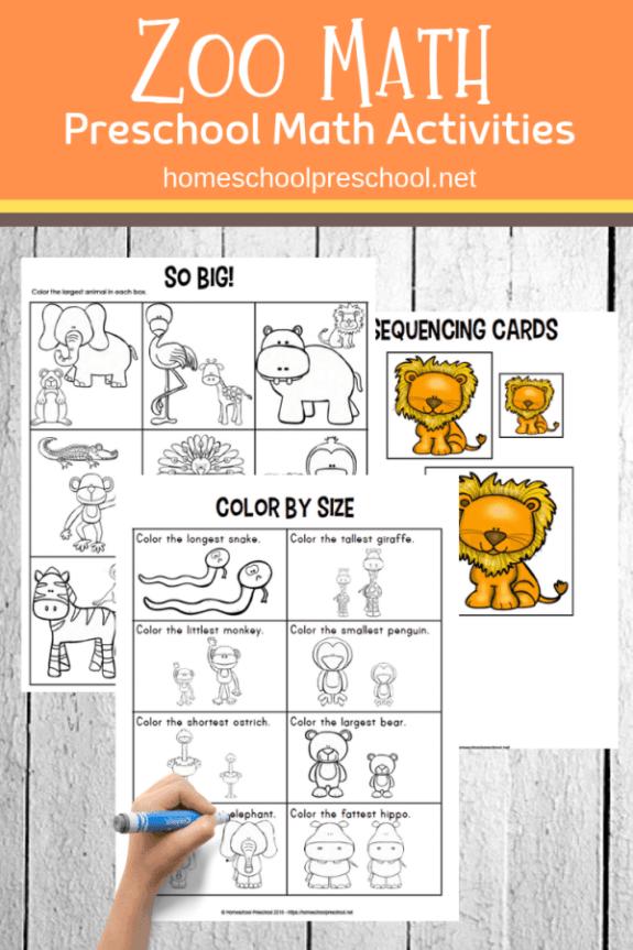 Week 239 Preschool Zoo Math Activities from Home School Preschool