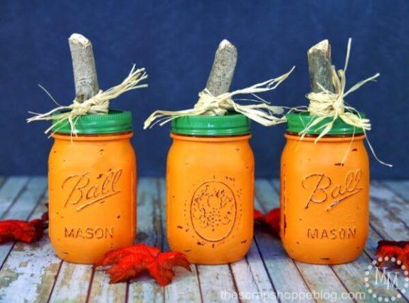 Week 243 DIY Painted Pumpkin Jars from The Scrap Shoppe Blog