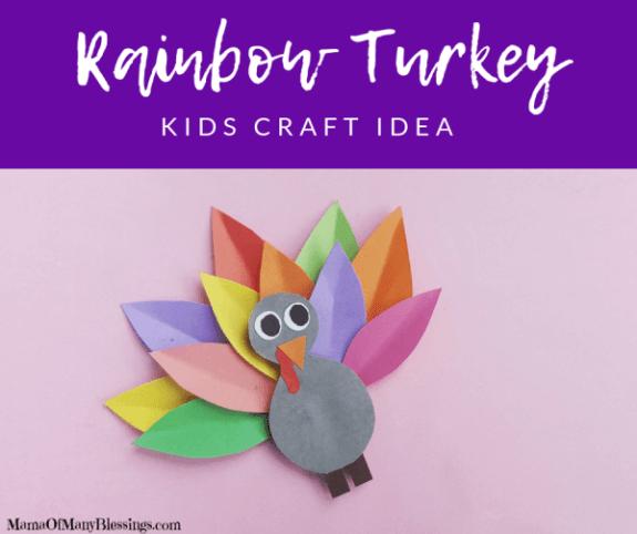 rainbow turkey kids craft idea