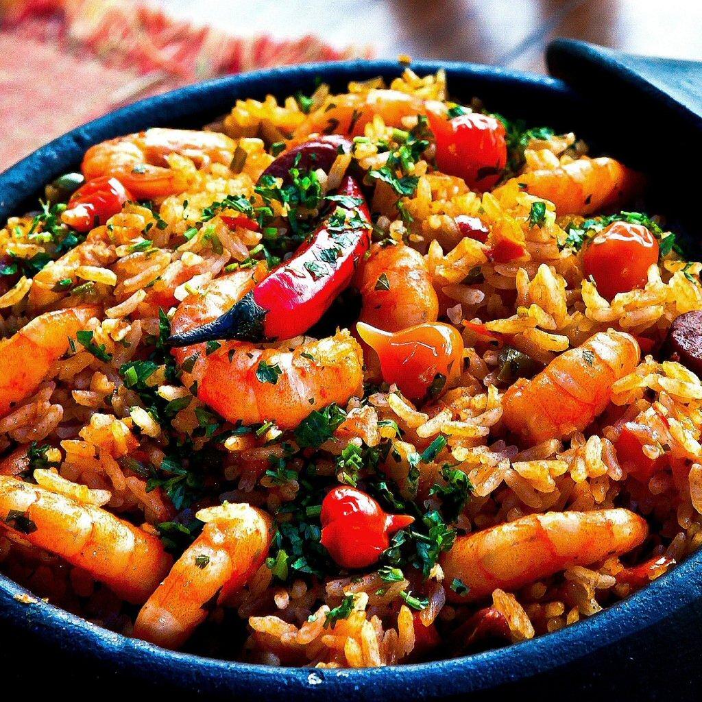 shrimp rice peppers pot dinner