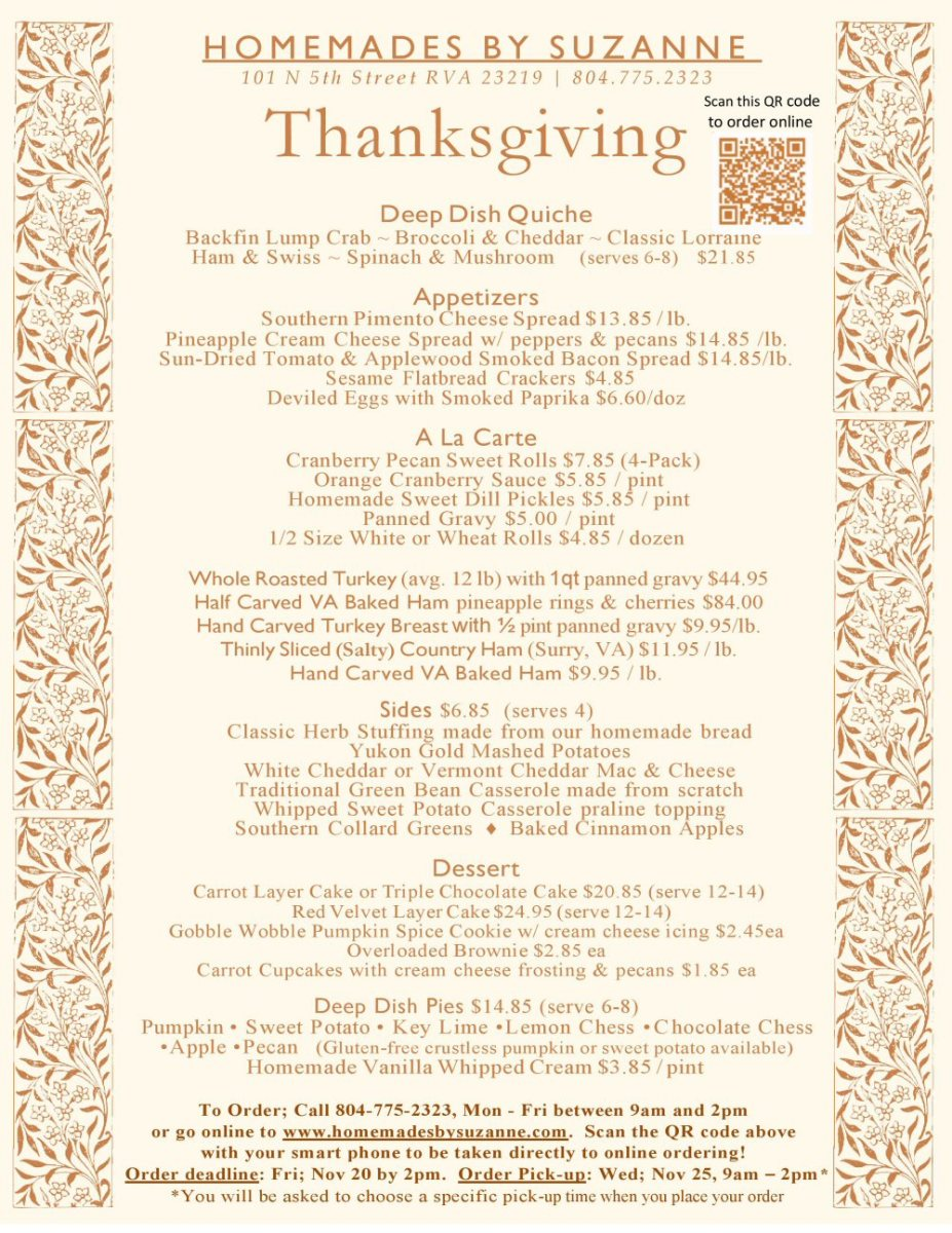 homemades by suzanne thanksgiving 2020 menu