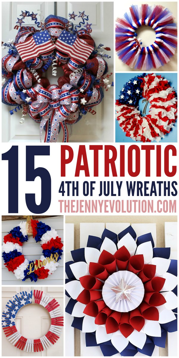 Week 77 Sunday's Best Featured Post - 15 DIY 4th of July Patriotic Wreaths - The Jenny Evolution