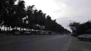 Bang Saen Beach Road in evening