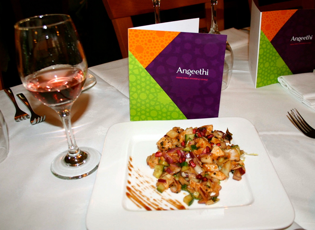 First course of chicken chaat paired with Round Hill White Zinfandel