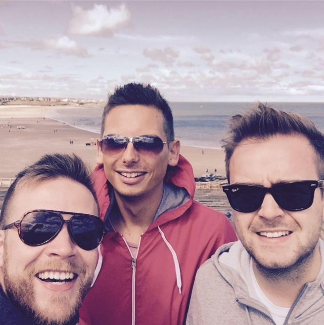 Dan and his pals at Longsands beach, Dan is the one in the middle