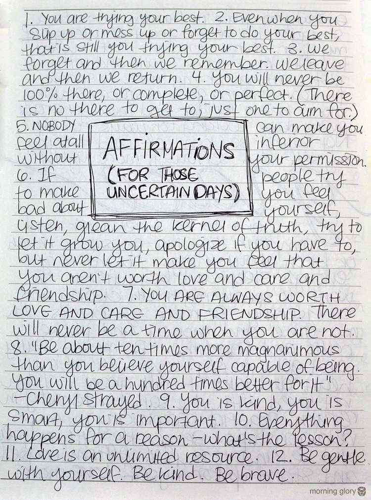 Affirmations for Uncertain Days >> Life In Limbo
