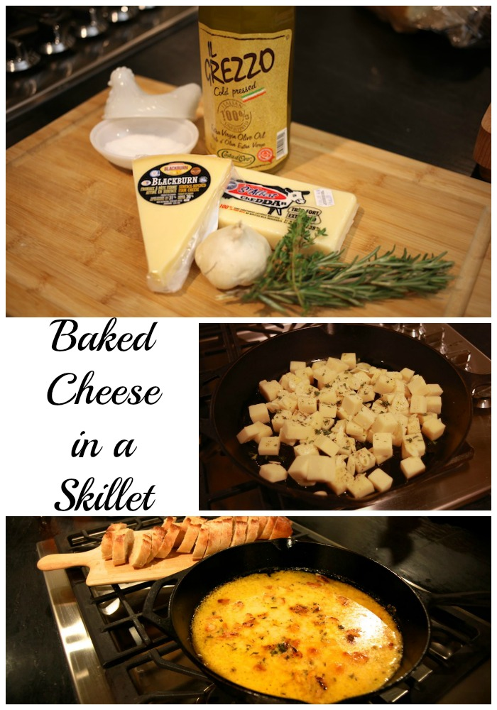 baked cheese in a skillet