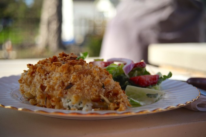 almond crusted chicken breasts with goat cheese