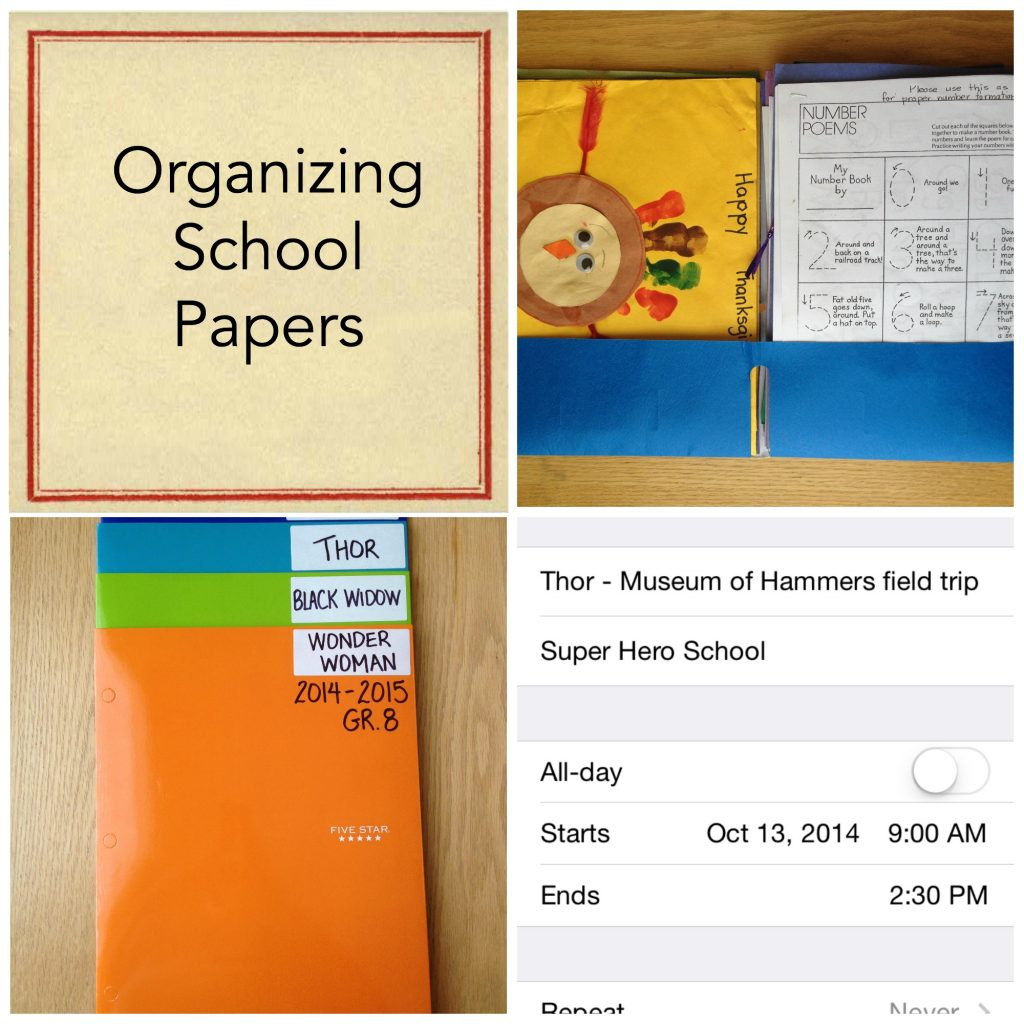 how to organize school papers, Organizing School Papers Collage