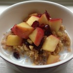 slow cooker oatmeal, warm apple topping, crockpot oatmeal, make ahead breakfast