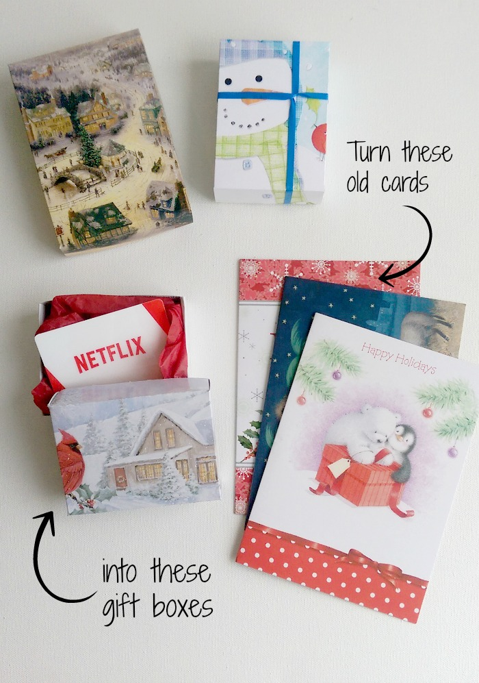 Make a gift box from a christmas card