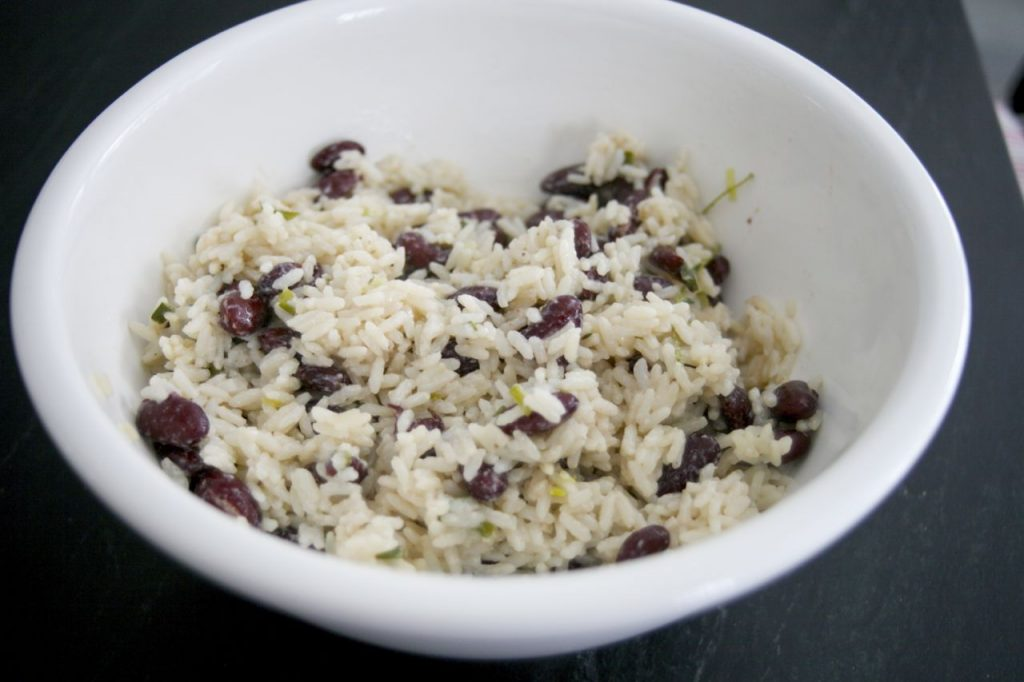 Jamaican Rice and Peas, coconut milk, red kidney beans