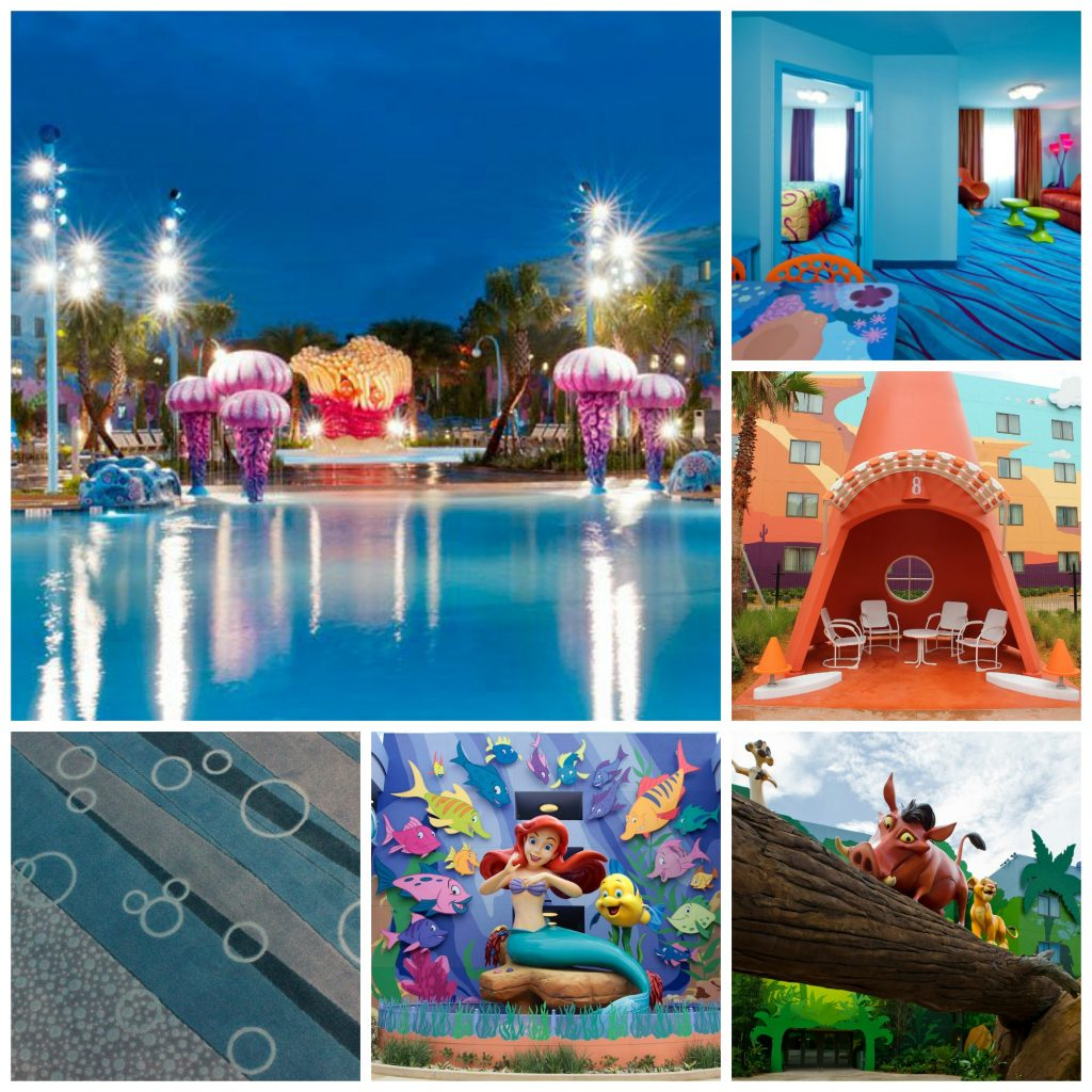 Disney World on a budget, Art of Animation collage, Ariel, Under the Sea, Cars rooms, hidden mickeys
