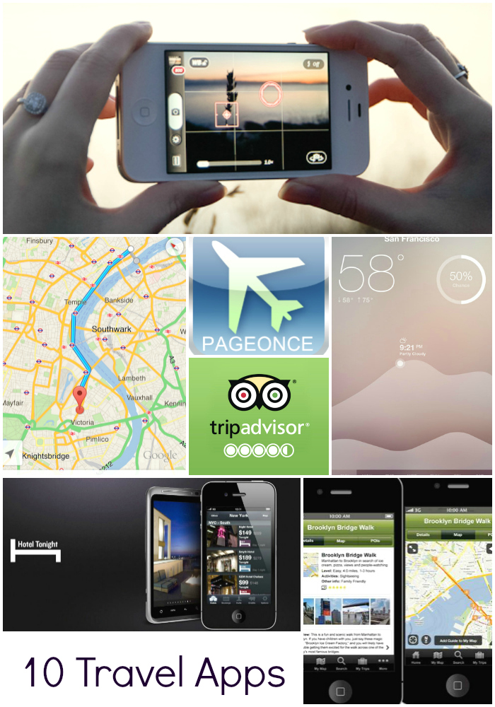 top 10 travel apps, tips, travel, vacation, mobile apps, free wifi, TripTracker, Google Maps, Waze, Trip Advisor, iTranslate, HotelTonight, Google Maps, Waze, Gogobot, Camera+, Fresh Air, weather, flight tracking, hotels, restaurants, city guides, cameras, sightseeing,