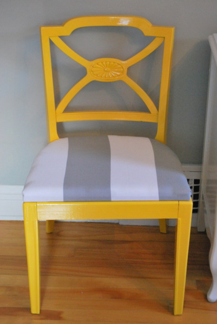 refinished yellow chair