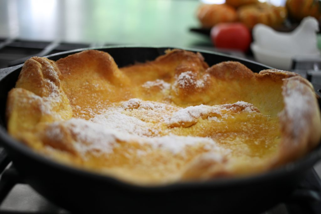 Dutch baby in a cast iron skillet