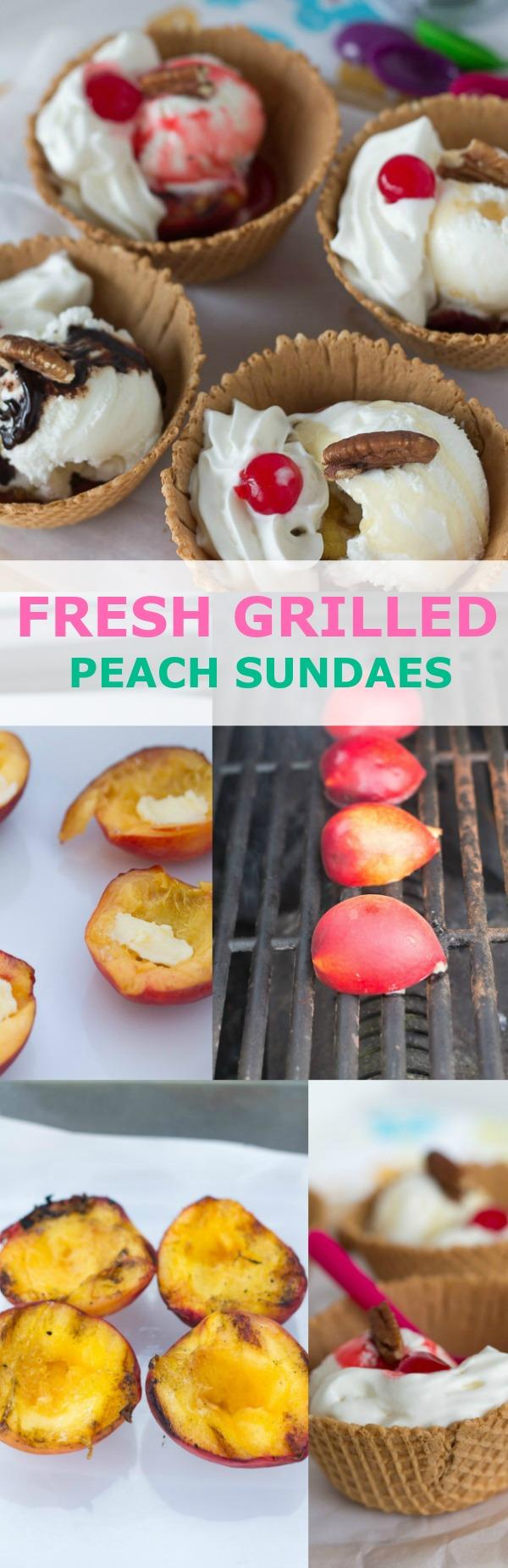 fresh grilled peach sundaes