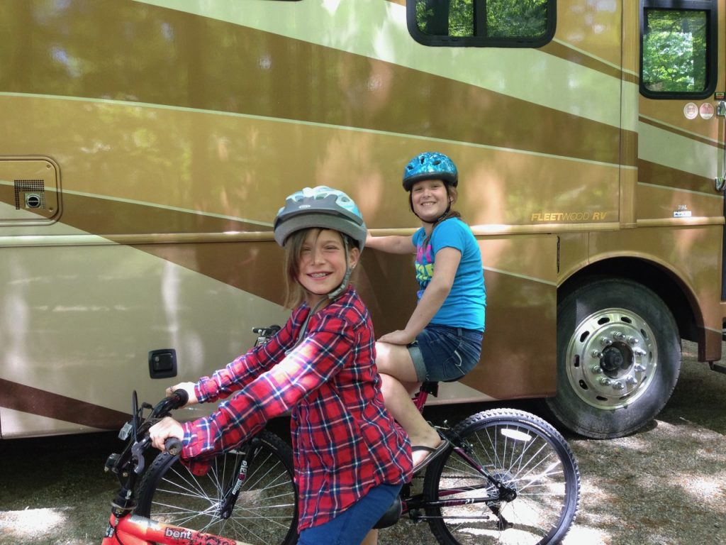 RV escape, outdoor time, biking, active family