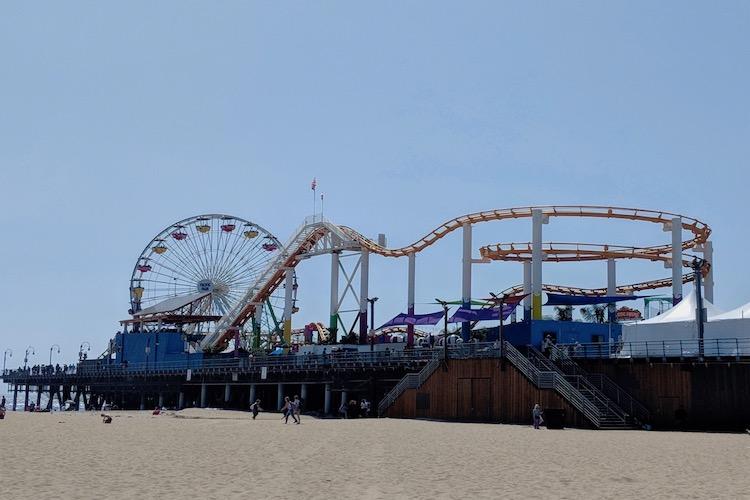 red eye out of lax, santa monica beach, santa monica pier