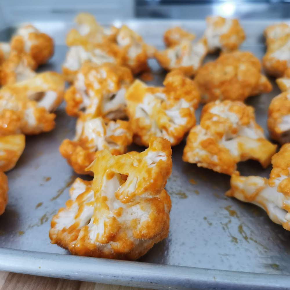 Buffalo Cauliflower Bites Ready for the Oven