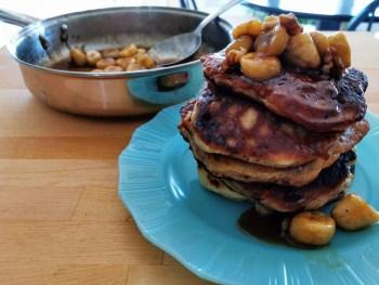 stack of banana walnut pancakes