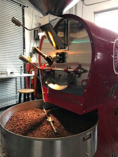 Image of coffee roasting at Coastal Coffee Roasters