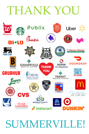 Pin this image of the businesses in Summerville who have helped during the COVID pandemic