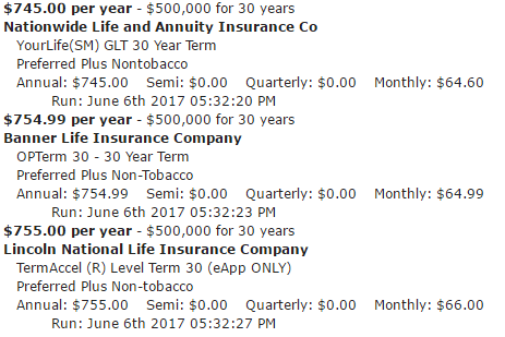 30 year term life insurance quote