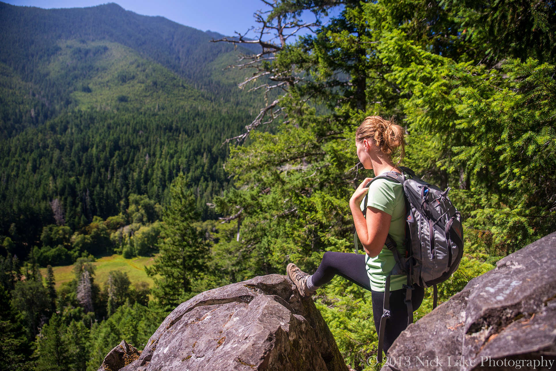 Woman Hiking along the Elwha River, Olympic National Park