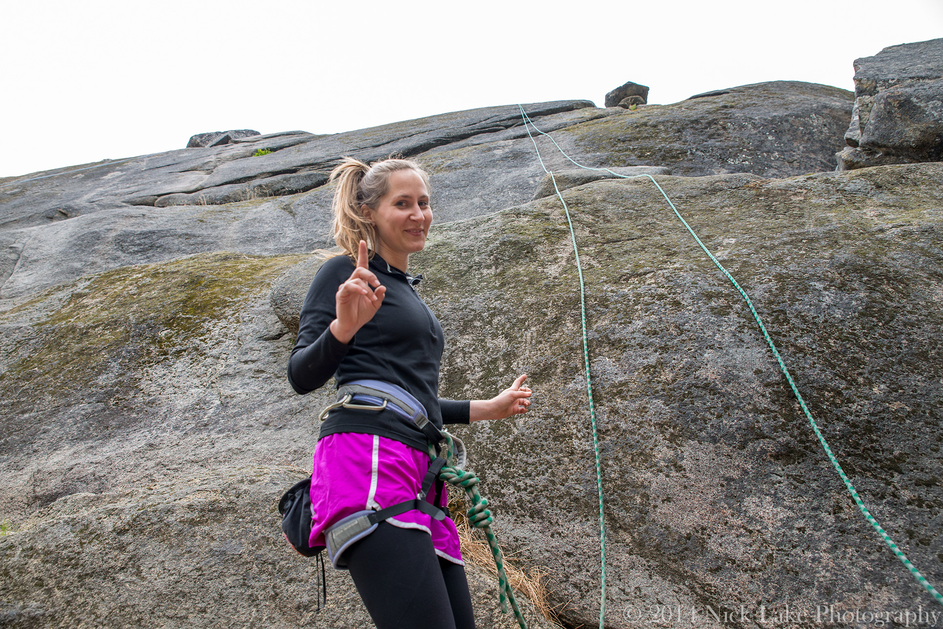 Kelly prepares to attempt her first route