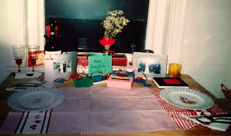 "Look, he even decorated the table with the ""love"" dish towels cuz we didn't own a tablecloth."