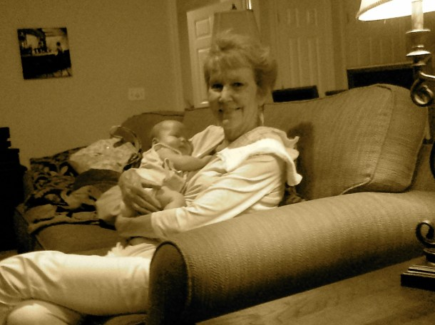 My mother holding Celia. My mom died, very suddenly, a month later.