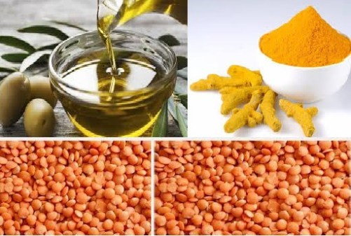 Olive oil, Red lentils and Trumeric Powder Beauty