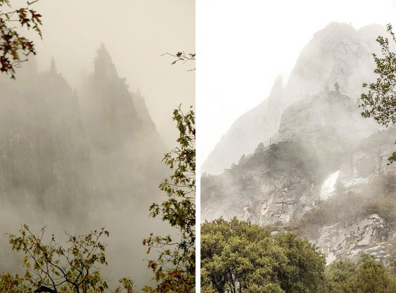 The cliffs near Yosemite Falls are magical in the rain.