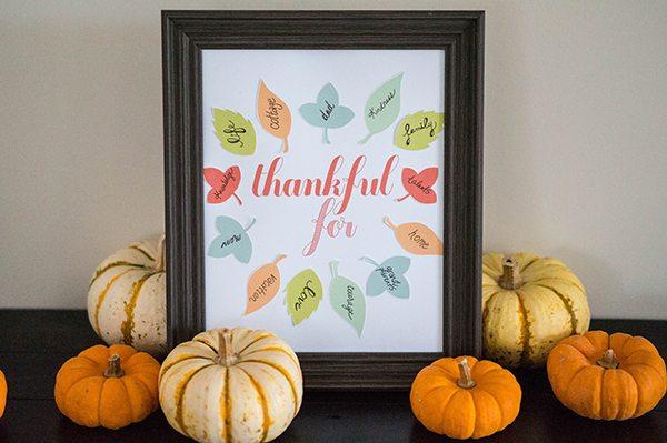 thankful for free printable