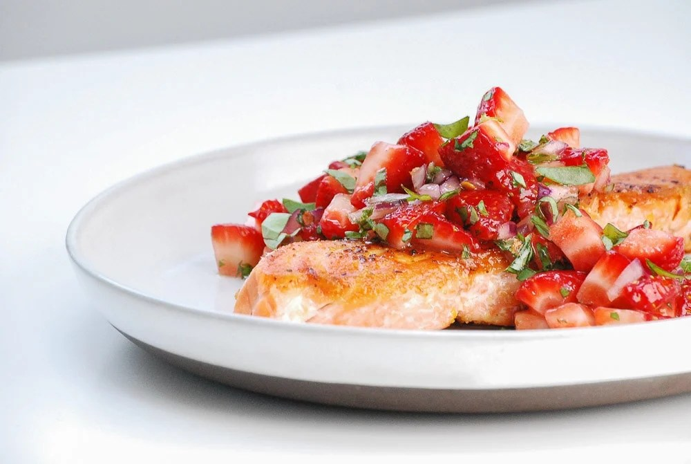 Seared Salmon with Strawberry Salsa