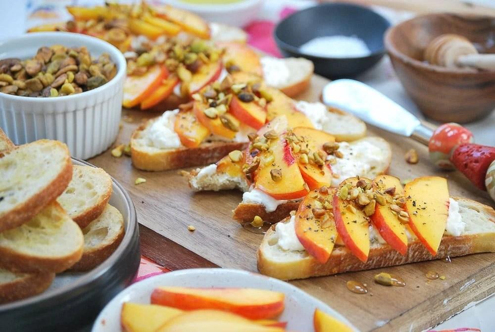 Peach Burrata Crostini-4