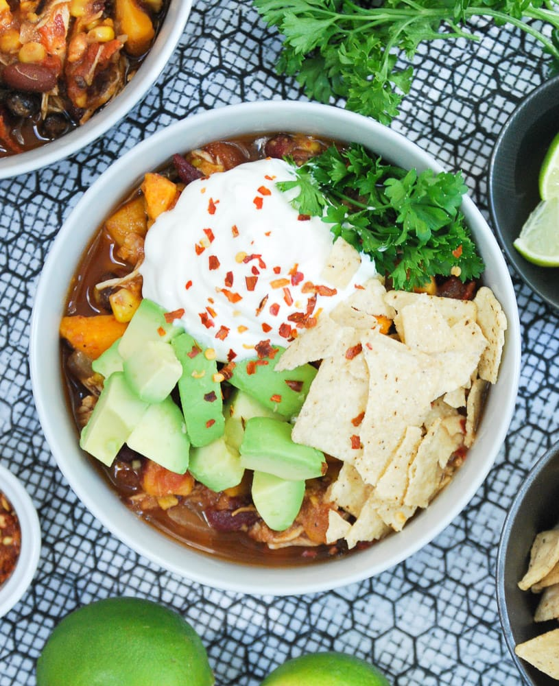 Slow Cooker Sweet Potato & Chicken Chili