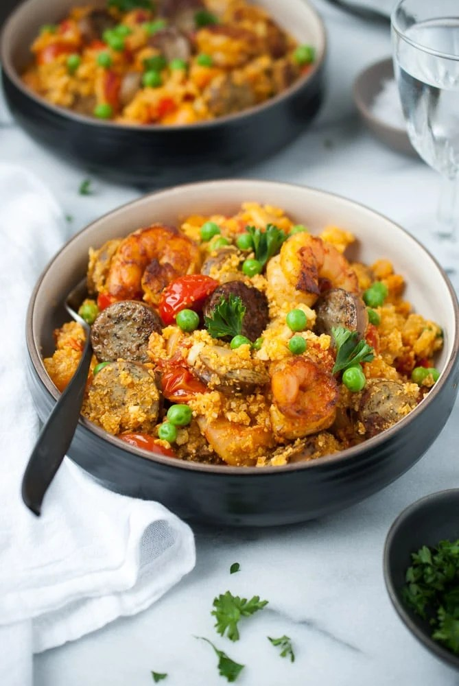 One Pot Cauliflower Rice Paella