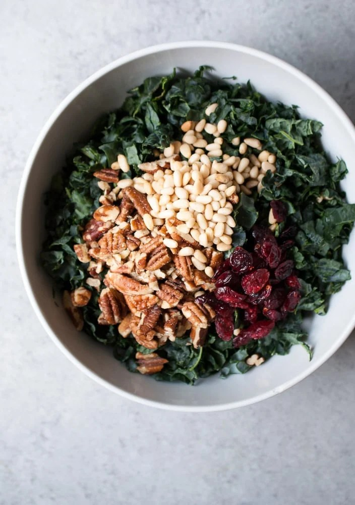 Chopped Kale Salad w- Pecans, Cranberries, & Herb Dressing-3