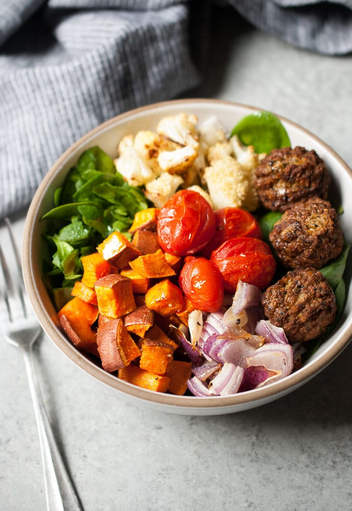 Roasted Vegetable Falafel Bowls