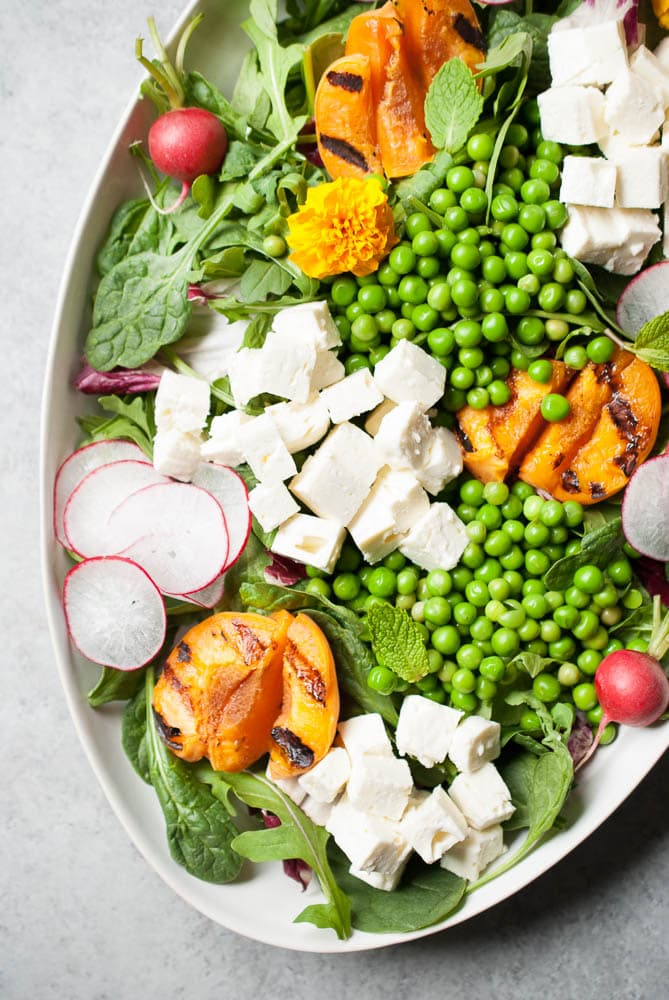 Spring Pea Salad w/ Grilled Apricots & Feta