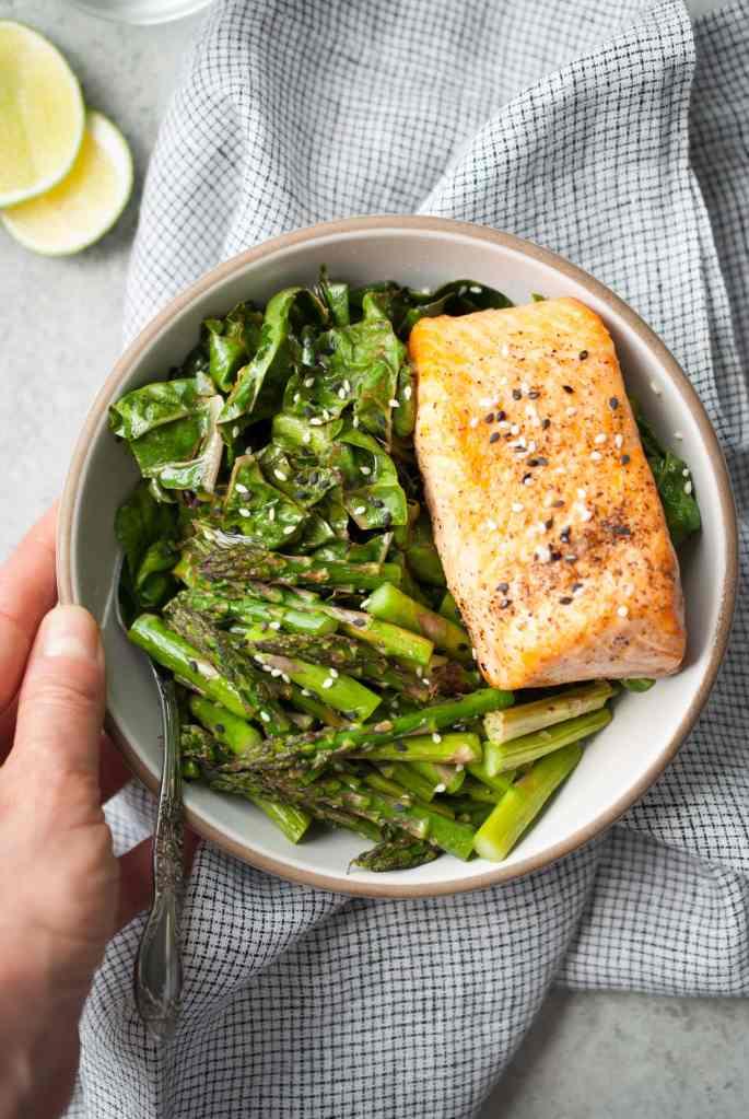 Easy Broiled Salmon Bowls w/ Asparagus & Rainbow Chard
